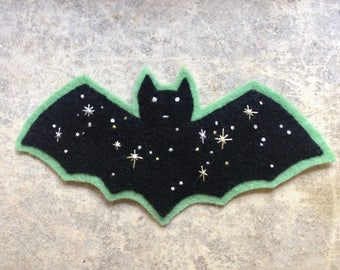 black Night Sky Bat embroidered felt patch