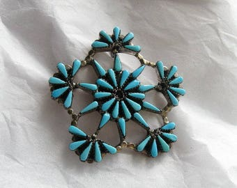 Vintage ZUNI Petit Point Snowflake Pin/Pendant, Signed; A Perfect (Turquoise) Storm