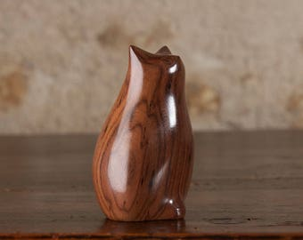 Small Fat Cat Sculpture Figurine Ornament Carved From Santos Rosewood by Perry Lancaster, Quality Original Tactile Carving