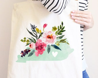 Kentucky Canvas Tote Bag, State Bag with Watercolor Flowers