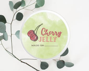 Instant Download Mason Jar Labels // Jam Jelly Canning Jar Labels // Gift for Cook // Cherry Jelly Labels