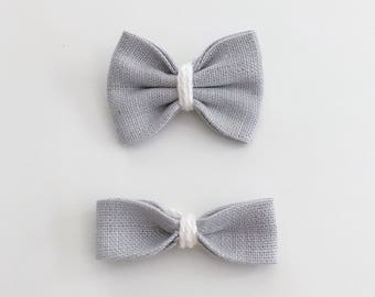 Boucle en lin gris - Grey linen hair bow