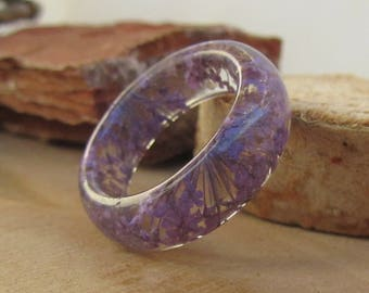 Anne's Quine resin ring, flower resin jewelry, dried flower ring, real dried flower resin ring, purple flower ring, resin ring, flower band