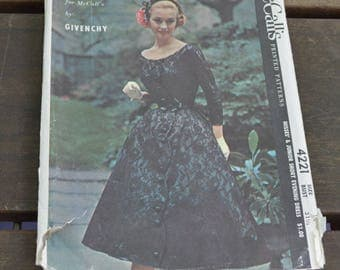 1957 Vintage Givenchy 4221 McCall's Printed Pattern