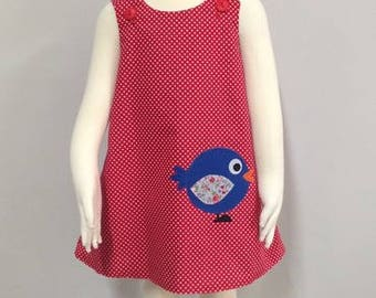 Girls reversible Red polkadot Birdy pinafore dress