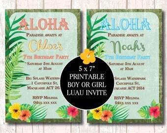 Luau Invitation Vintage for Girl or Boy, Luau Party Invite, Hawaiian Invitation, Printable Invite, Hawaiian Party Invitation, Luau Birthday