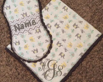Personalized Recieving Blanket and Burp Cloth Set