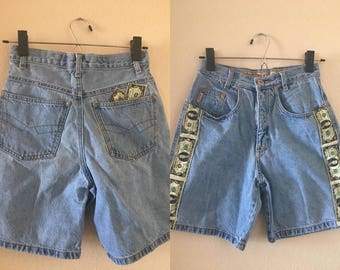 vintage 90's DOLLA DOLLA BILL ya'all Denim Shorts - small, Jou Jou