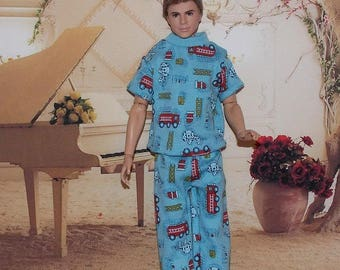 Blue PJ's with Red Firetrucks. 1:6 Scale Male Fashion Doll Clothes (ken doll not included)