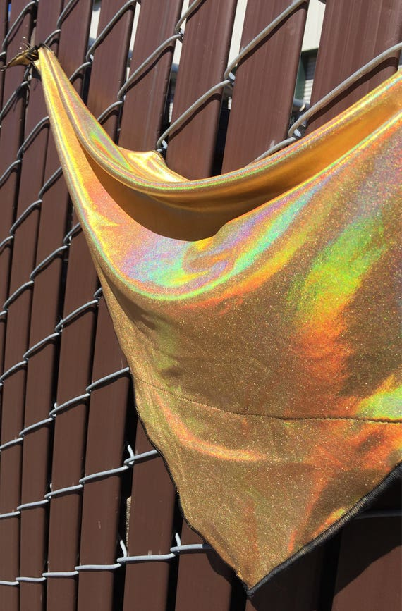 HoloGold: Solid Holographic Gold Bandana w/ Rainbow sheen & Hidden Stash Pocket