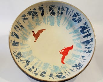 The Fox and the Hare handpainted ceramic fruit bowl