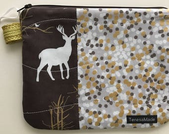 Small Brown Confetti Deer Zip Pouch