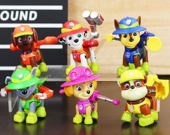 CAKE TOPPER - PAW Patrol 6 Figure Set Birthday Party Cupcakes Figurines