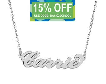 Personalized Name Necklace 925 Sterling Silver - Carrie Style with Any Name