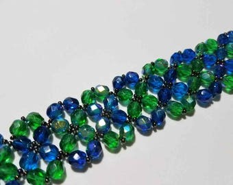 Green and Blue Crossing Paths Bracelet