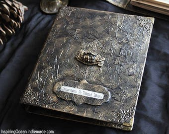 Book of shadows Grimoire binder, book cover A5 size with dragon eye