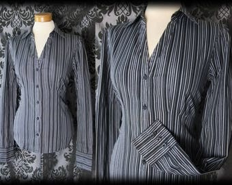 Gothic Black Pinstripe Fitted LIBERTINE Corset Blouse 10 12 Victorian Governess