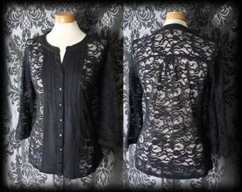 Gothic Black Sheer Lace Panel ENVY'S EMBRACE Top Blouse 14 16 Victorian Vintage