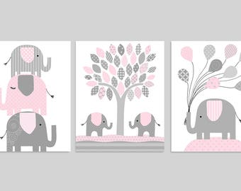 Elephant Nursery Decor, Pale Pink and Grey, Girl's Room Decor, Balloons, Baby Girl Nursery Art, Elephant Canvas Art, Nursery Canvas Decor