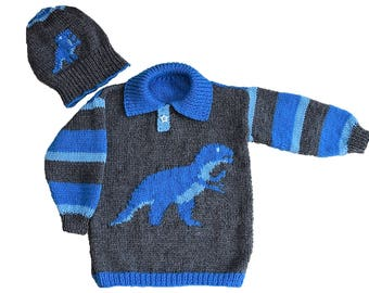 Dinosaur Child's Sweater and Hat - Tyrannosaurus - Knitting Pattern,  Dinosaur Sweater and Hat Knitting Pattern, T Rex Knitting Pattern