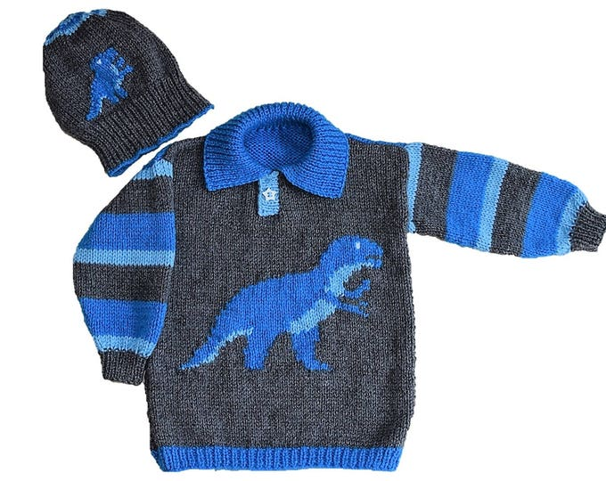 Dinosaur Child's Sweater and Hat - Tyrannosaurus - Knitting Pattern,  Dinosaur Sweater and Hat Knitting Pattern, T Rex Knitting Pattern