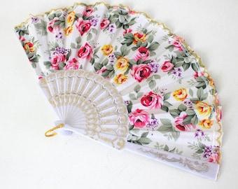Hand Fans, hand fan, Abanico, weddingfan,whitewith romantic roses