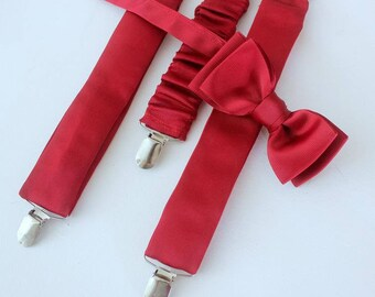 Suspenders with bow, red, cherry red