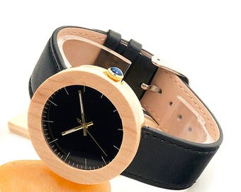 Wooden watch, quartz watch, lady whatch,sportiv,naturel wood,black,golden