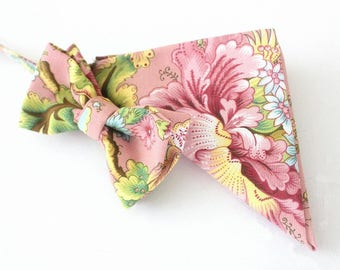 Bow tie,mens bow tie, tie,pink,flowers,coutrystyle