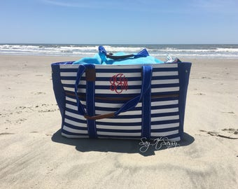 Large Striped Beach Tote With Monogram - 5 Colors Choices -  Canvas Summer Tote Bag - Beach Bag - Beach Tote - Pool Tote - Pool Bag