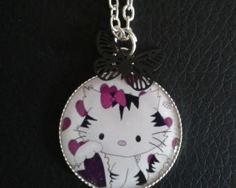 Long child and her little cat purple cabochon