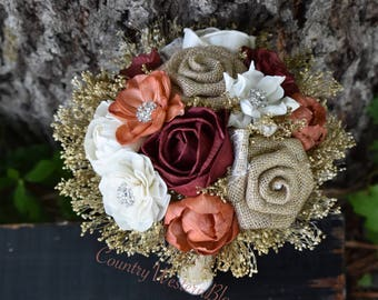 Wedding Bouquet Rustic Bouquet Fall Bouquet Sola Bouquet Burnt Orange Bouquet Brooch Bouquet Burgundy Bouquet Bridesmaid Bouquet Small