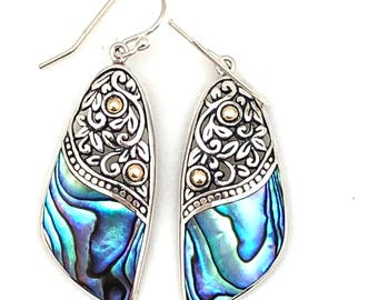 Sterling Silver and 18K Gold and Abalone Dangle Earrings