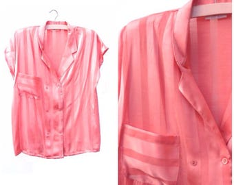 Glossy Peach Stripe Blouse - Semi Sheer - Small Medium