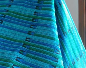 vibrant blue 6 yards of retro teal cotton fabric geometric print black green vibrant aquamarine turquoise