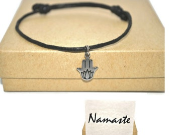 Stainless steel hamsa lotus cord bracelet and namaste note card