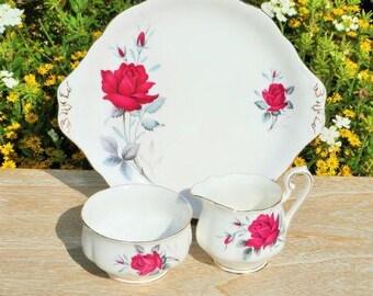 Royal Albert  china cake plate, milk jug and sugar bowl. Sweet Romance pattern.