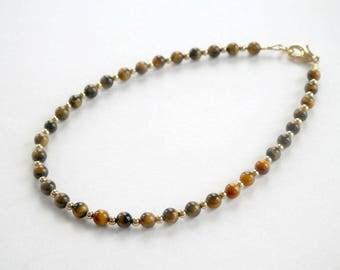 Tigers Eye Bracelet - Gemstone Bracelet - Brown and Gold Bracelet - Small Bead Bracelet - Single Strand - Stack Bracelet - Plus Size