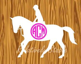 hunter jumper monogram, equestrian monogram decal, horse monogram-FLATWORK