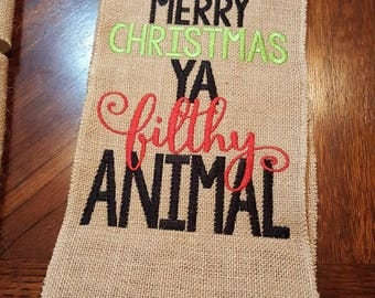 Christmas pillow band, holiday pillow band, embroidered pillow band, pillow band, Merry Christmas Ya Filthy Animal