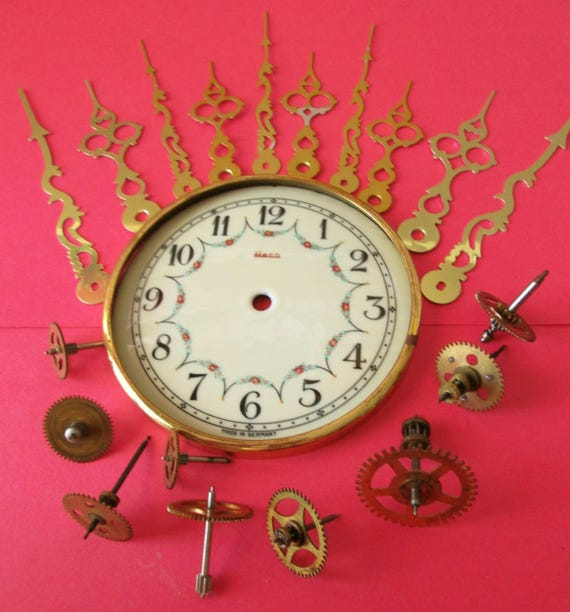 "Nice Vintage 4 1/2"" German Heco Porcelain Anniversary Clock Dial with Assorted Clock Parts and Hands for your Clock Projects - Steampunk Art"