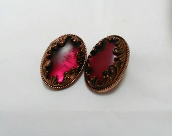 Vintage Collection - Art Nouveau Revival Brass Metal Color and Purple Plastic Cabochon Clip-on Earrings