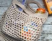 Handmade Market Bag Beige Cotton Reusable Grocery Bag Mesh Produce Bag Shopping Tote Sack Beach Bag Crochet