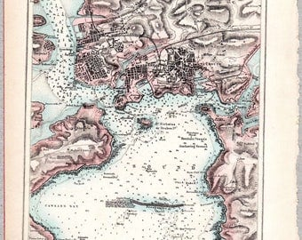 Vintage map of Plymouth Sound published circa 1875, Imperial Gazetteer of England & Wales #00189