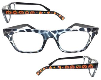 Women's Black 1.75 Strength Halloween Reading Glasses with Hand Painted Pumpkins, Candy Corn, and Polka Dots