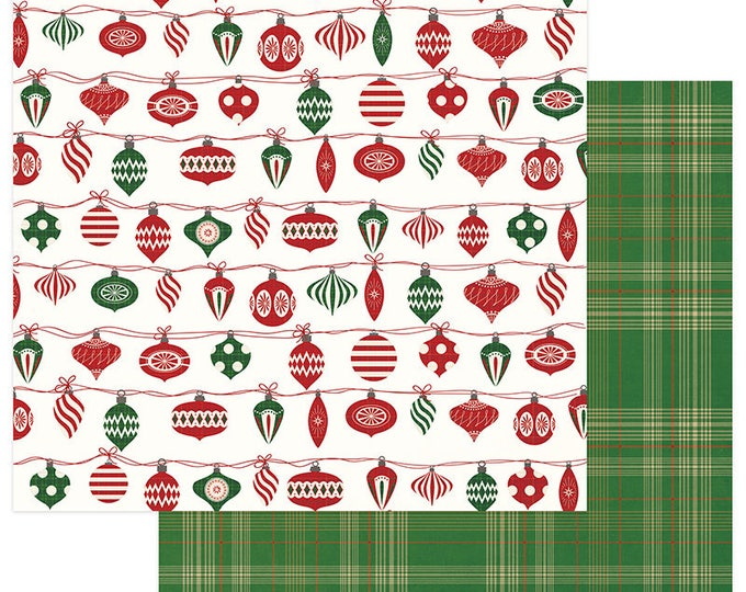 3 Sheets of Photo Play MAD 4 PLAID CHRISTMAS 12x12 Scrapbook Cardstock Paper - Trim the Tree
