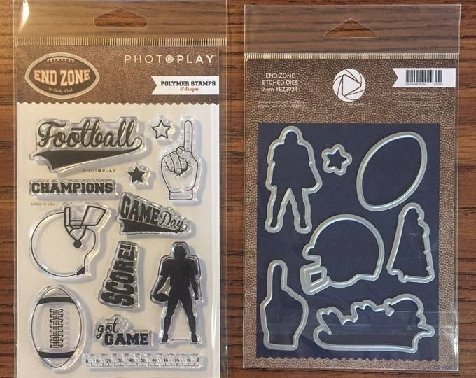 Photo Play END ZONE Football Theme Clear Polymer Stamps and Etched Dies Set