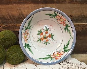 Vintage Blue Lusterware Bowl/Made in Japan/Serving/Orange Flowers