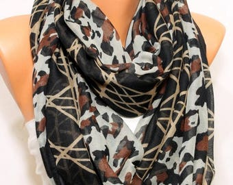 Leopard Scarf Black Beige Grey Scarf Wraps Infinity Scarf Winter Fall Fashion Women Clothing Fashion Accessories Holiday Gift Ideas For Her