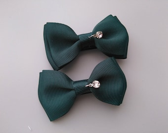 1 pair of clip Alligator Clip with rhinestone bow shaped
